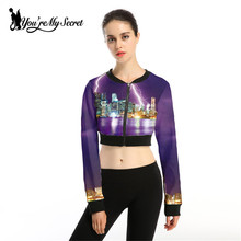 [You're My Secret] Tops Sweatshirts Long Sleeve Zipper Coat Purple Lightning Print Women Jacket Round Neck Sexy Women Clothing