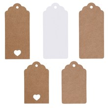 50 X Kraft Paper Gift Tags Scallop Label Luggage Wedding Blank + Strings Brown and White Garment Tags