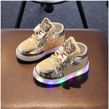 Kids Girls Shoes Spring Autumn Winter Children's Sneakers Boy Shoes Chaussure Enfant Hello Kitty Baby Shoes With LED Light(China)