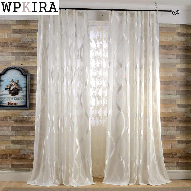 Fashion design curtains European and American Style transparent tulle sheer curtains for window treatments living room 150&30