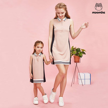 mom daughter family matching outfits fashion vest woman baby girl dresses Children's clothing sleeveless Turn-down Collar Strip