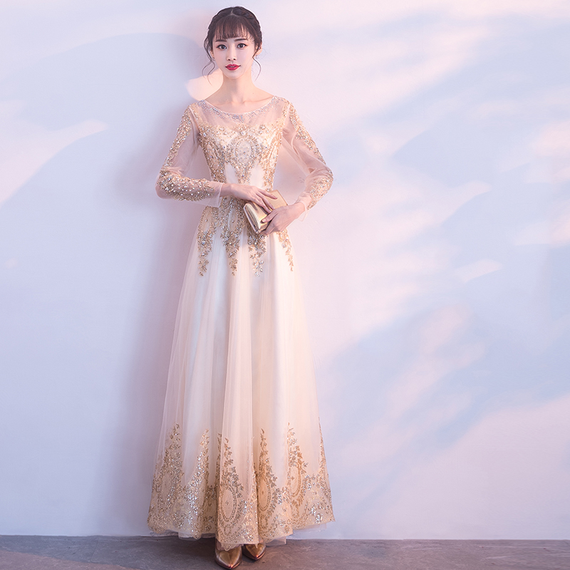 Gold Bling Gorgeous Long Evening Gowns Pearls Long Sleeve Women Prom Banquet Dresses Tulle A-line Elegant Party Dress G210
