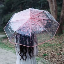 Transparent Umbrella Three Fold Sun Rain Umbrellas Acrylic Handle Cherry Blossom Three Color Rain Tools Woman Flowers