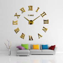 2017 New HomeDecoration Wall Clock Big Mirror Wall Clock Modern Design Large Size Wall Clocks DIY Wall Sticker Unique Gift 130(China)