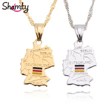 Shamty Deutschland Map Flag Necklace Pendants Pure Gold Color Silver Color Jewelry Germany Map German Unisex Gift Items(China)