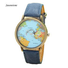 Hot Sale Men Women Watches Casual Canvas Quartz Wrist Watch Global Travel By Plane Map Casual Sports Watches for Women reloj(China)