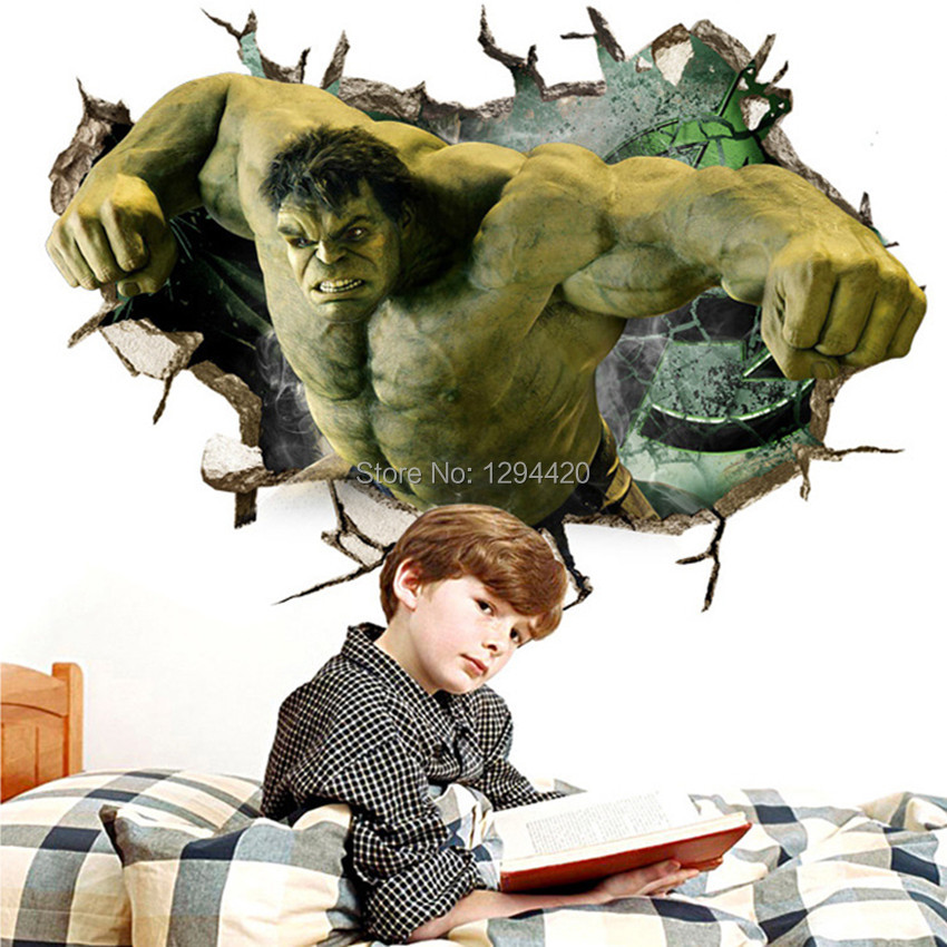 HTB1DavqqRmWBuNkSndVq6AsApXau - Hulk 3d broken wall vinyl stickers the Avengers super heroes anime poster for kids rooms
