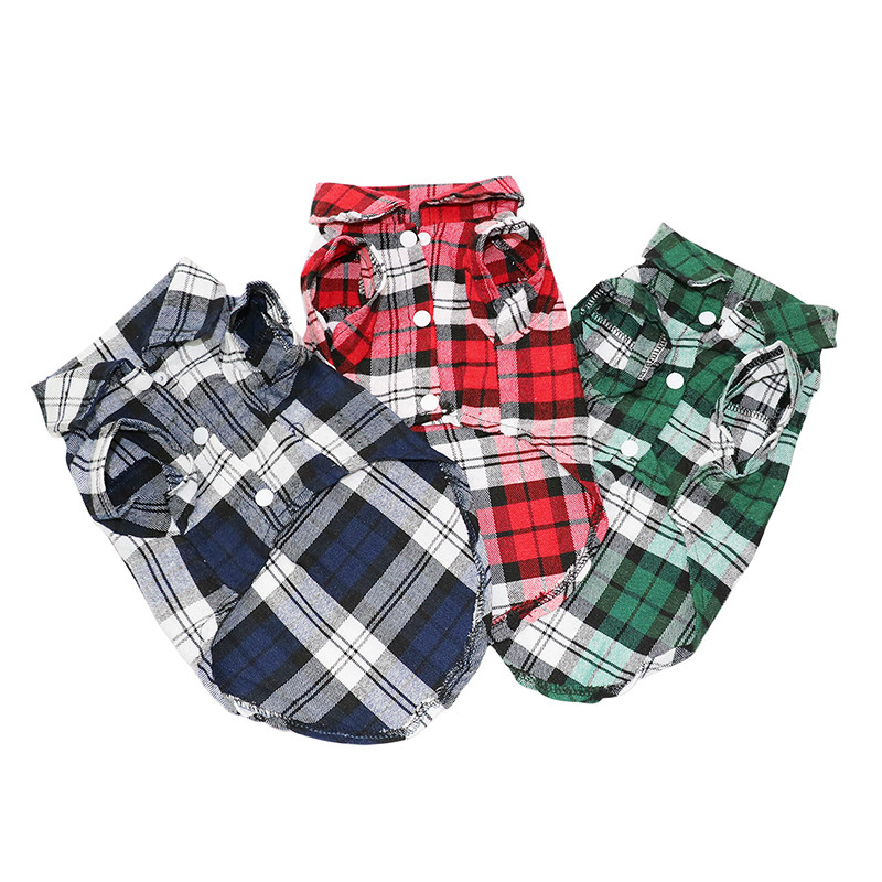Pet Puppy Dog Clothes Summer Plaid Dog Shirt Coats Jackets Cat Grid Costumes for Small Medium Dogs Yorkies Chihuahua Clothes5