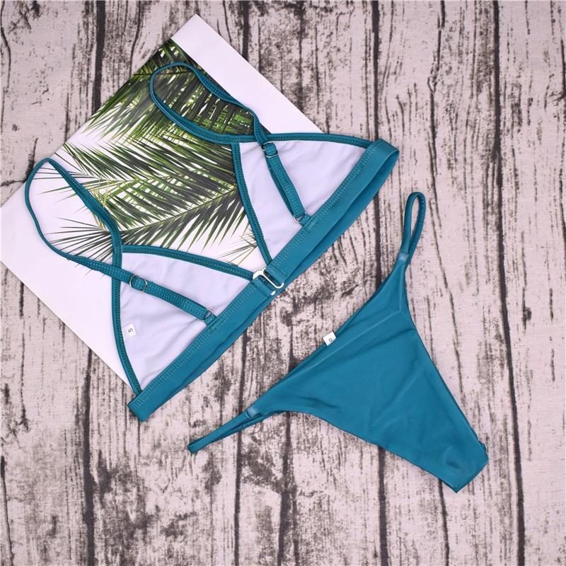 19 Sexy Bikini Set Brazilian Cut Swimsuit Women Swimwear Halter Biquinis Retro Style Cheeky Simple Thong Bikinis Hot maillot 20