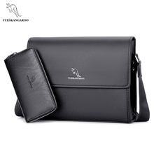 YUESKANGAROO Brand Men's Bags Briefcase casual men messenger bag A4 document leather male shoulder bag(China)