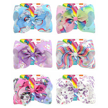 """1Pcs 8 Inch""""jojo Girls Siwa Unicorn Collection Coral Colorful Hairpin Large Hair Bows Hair Accessories For Girls(China)"""