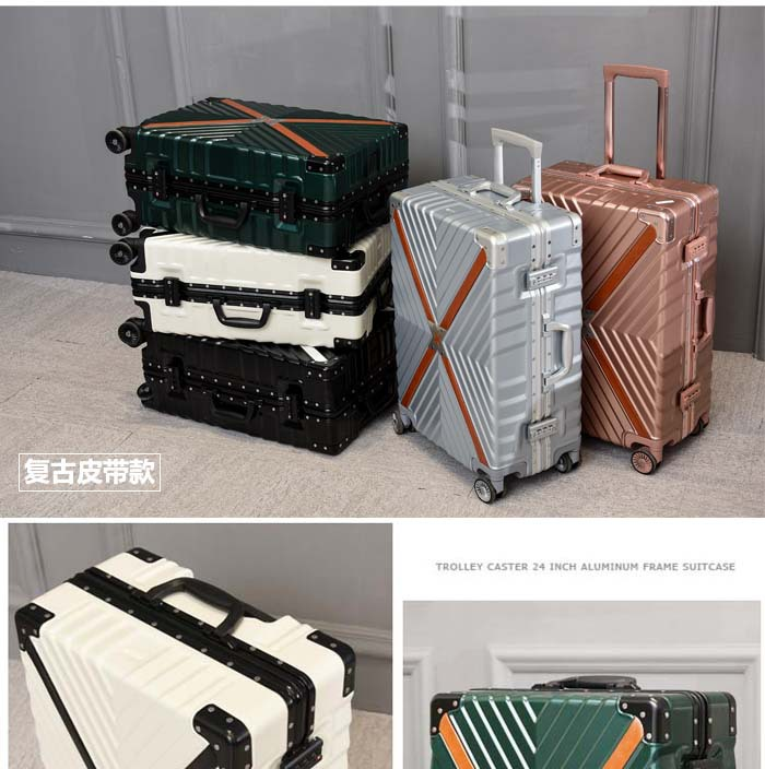 Retro Travel Trolley Luggage With X Belt Aluminum Frame Alloy Business Rolling Luggage Airplane Suitcase Spinner Wheels (7)