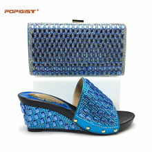 Blue color Comfortable 7cm heels Italian Shoes With Matching Bags Set Nice Quality African Shoes And Bag Sets With Rhinestones(China)