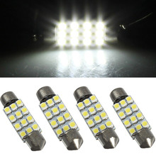 4pcs Car Festoon Dome Door 42mm C5W C10W 12 LED 3528 SMD White Auto Interior Reading Map Lights Lamp Bulb DC12V