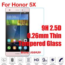 Cheap Explosion Proof Best Ultra Thin 9H Hardness 2.5D 0.26mm Phone Cell Glass Screen Protector For Huawei Honor 5X Cover