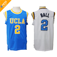 Lonzo Ball UCLA College Basketball Jersey 2# High Quality Breathable fabrics White Blue Colors Sleeveless Jerseys Throwback(China)