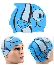 Children Silicon Waterproof Swimming Cap Hat  Unisex Kids Baby Boys Girls Child cartoon swimming caps pool  Beach Small fish