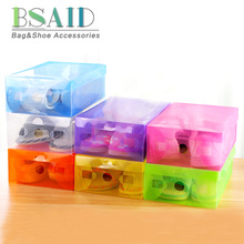 BSAID Candy Color Transparent Shoe Boxes Case Thick Foldable Plastic Shoebox Clamshell Storage Drawer Shoecase Box Containers(China)