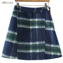 Buy NATOODA Fashion Women England Style Vintage Plaid Skirt Side Zipper Button Casual A-Line Chic Spring Mini Skirt Saia XY3063 for $14.49 in AliExpress store