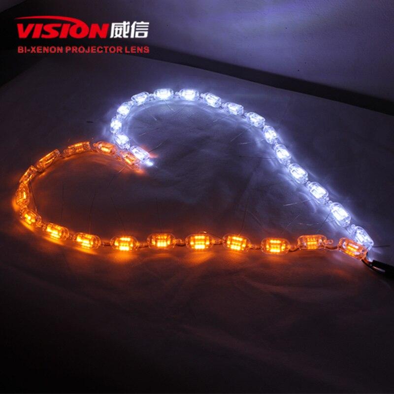 Free Shipping IPHCAR LED Car Light Source Universal Led Light Flexible Super Bright White LED Strips Daytime Running Light<br>