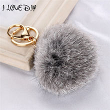 Stylish 8CM Car Pendant Key Chain Keyring Rabbit Fur Fluffy Ball PomPom Phone Keychain Handbag Key Ring