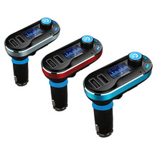 Portable MP3 Player Handsfree Bluetooth Car Kit FM Transmitter With Dual 2.1A USB SD LCD for A2DP Cigarette Lighter Car Charger()