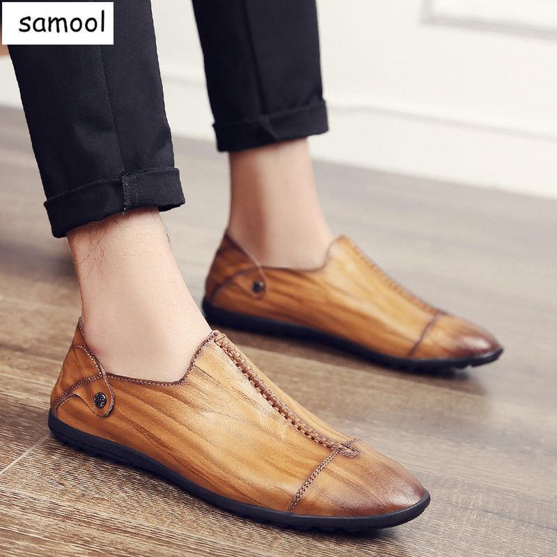 British Style Loafers Men Causal lazy Soft Leather Brand Shoes Slip On Classic Comfortable driving High Quality Outdoor Shoes 7<br>