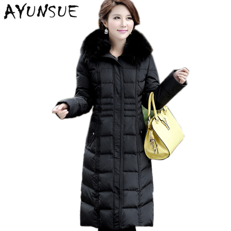 NEW 2019 Winter Women's Plus size M-5XL Large Fox Fur Collar Thickening White Goose Down Coats Women's Down Jackets Parka CP0177