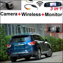 For Nissan Pathfinder R52 2012~2015 3 in1 Special Rear View Camera + Wireless Receiver + Mirror Monitor Easy DIY Parking System