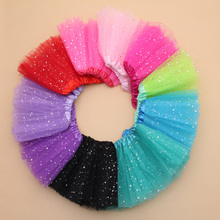 2T kids girl star glitter dance tutu skirt sequin with 3 layers tulle tutu toddler girl chiffon pettiskrit(China)