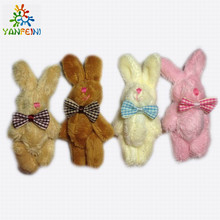6cm Plush Mini bow Rabbit Joint Bare Pendants Stuffed Bunny For Key chain/Bouquet/Mobile Phone/Bag Dolls soft Toys 10pcs bear(China)