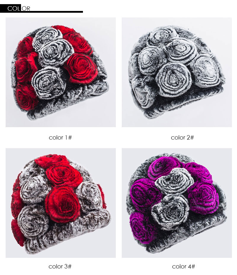 Pudi HF7040 Womens Winter Hats Rabbit Hair Hat Good Looking Flower ...