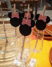 Handmade New 10pcs ECO Paper Straws Birthday Party Supplies Baby Shower Table Decor Hot Mickey Minnie Decoration Centerpiece