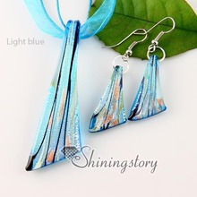 knife silver foil venetian lampwork murano glass necklaces pendants and earrings jewelry sets cheap ladies jewellery()
