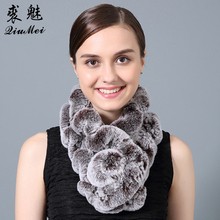 QiuMei Rabbit Fur Rex Ring Scarf Winter 2017 Real Fur Scarf Pompom Natural Rabbit Fur Female Genuine Fur Scarves Women(China)