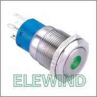 ELEWIND 19mm Green Dot illuminated Latching push button(PM192F-11ZD/G/12V/S)