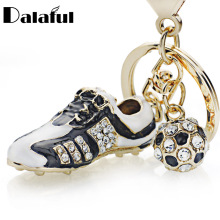 Crystal Football Soccer Shoes Rhinestone Keychains For Car Purse Bag Buckle Pendant Keyrings Key Chains Women Gift K258(China)