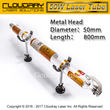 Co2 Laser Tube Metal Head 800MM 50W Glass Pipe for CO2 Laser Engraving Cutting Machine