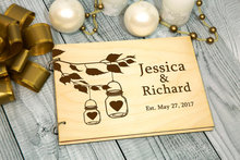 personalized Rustic wedding alternative Guest Book Mason Jar engraved Wooden guestbooks Reception party decorations