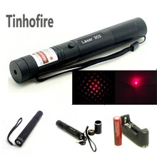 Tinhofire Red Lazer Pointer Laser 303 200mW 650nm Red Laser Pointer Adjustable Focal Length + 18650 3000Mah battery and charger(China)