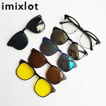 IMIXLOT 5pcs Magnetic Clip Sunglasses Women Glasses with Polarized Eyeglasses Myopia Optical Reading Frame with Package