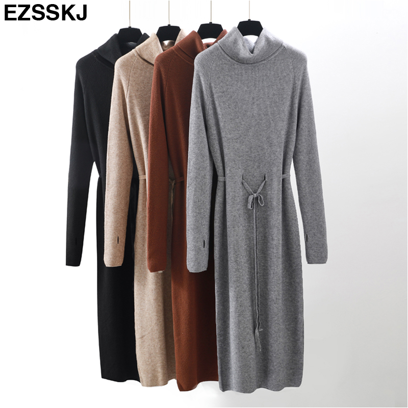 Thumb Hole autumn winter Women turtleneck long Sweater dress robe Knitted Sweaters Drawstring dress Femme Lace Up loose dress