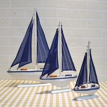 Blue Wooden Saling Ship Model Mediterranean Style Boat Ornaments Home Nautical Decor Crafts Gifts