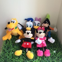 30cm High Quality cute  Minnie doll Mickey Mouse Pato Donald Daisy Plute Goofy Plush Toys For Children's Gift  6pcs/lot