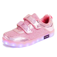 Eur25-37 // Usb Glowing Girls Sneakers Basket Led Children Lighting Shoes illuminated krasovki Luminous Sneakers for Boys A01(China)