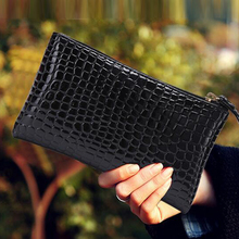 New crocodile patent leather clutch bag women clutch wallets coin purses