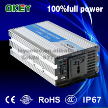 Solar system/home power inverter 500w DC AC 24V to 110V/220V pure sine wave single output without charge(China)