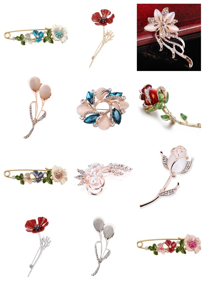 3D Vintage Flower Brooch Rhinestone Pin Collar Corsage Shirt Badge Jewelry Gift For Women