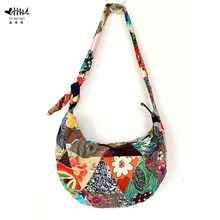 Unique Patchwork Handmade Sling Crossbody Messenger Shoulder Bag Women Bohemian Hippie Cotton Canvas Bags free shipping(China)