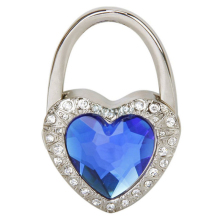 New 2017 Heart Shape Diamond Rhinestone Folding Bag Purse Tote Hook Buckle Handbag Hook Hanger Holder Clip Buckle MS263
